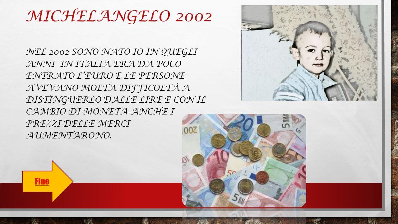 MICHELANGELO 2002 NEL 2002 SONO NATO IO IN QUEGLI ANNI IN ITALIA ERA DA POCO ENTRATO L'EURO E LE PERSONE AVEVANO MOLTA DIFFICOLTÀ A DISTINGUERLO DALLE LIRE E CON IL CAMBIO DI MONETA ANCHE I PREZZI DELLE MERCI AUMENTARONO.