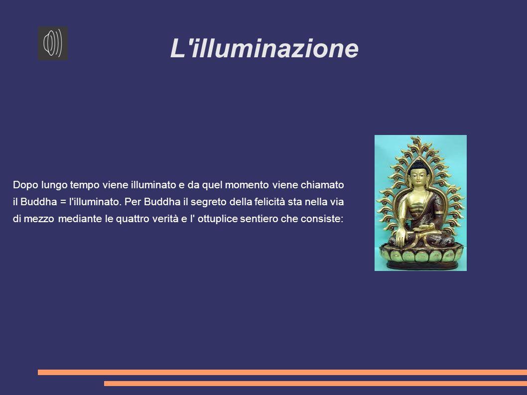 L illuminazione Dopo lungo tempo viene illuminato e da quel momento viene chiamato il Buddha = l illuminato.