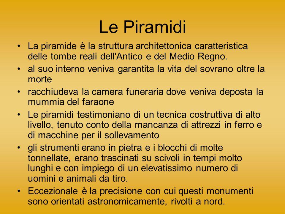 Le Piramidi La piramide è la struttura architettonica caratteristica delle tombe reali dell Antico e del Medio Regno.