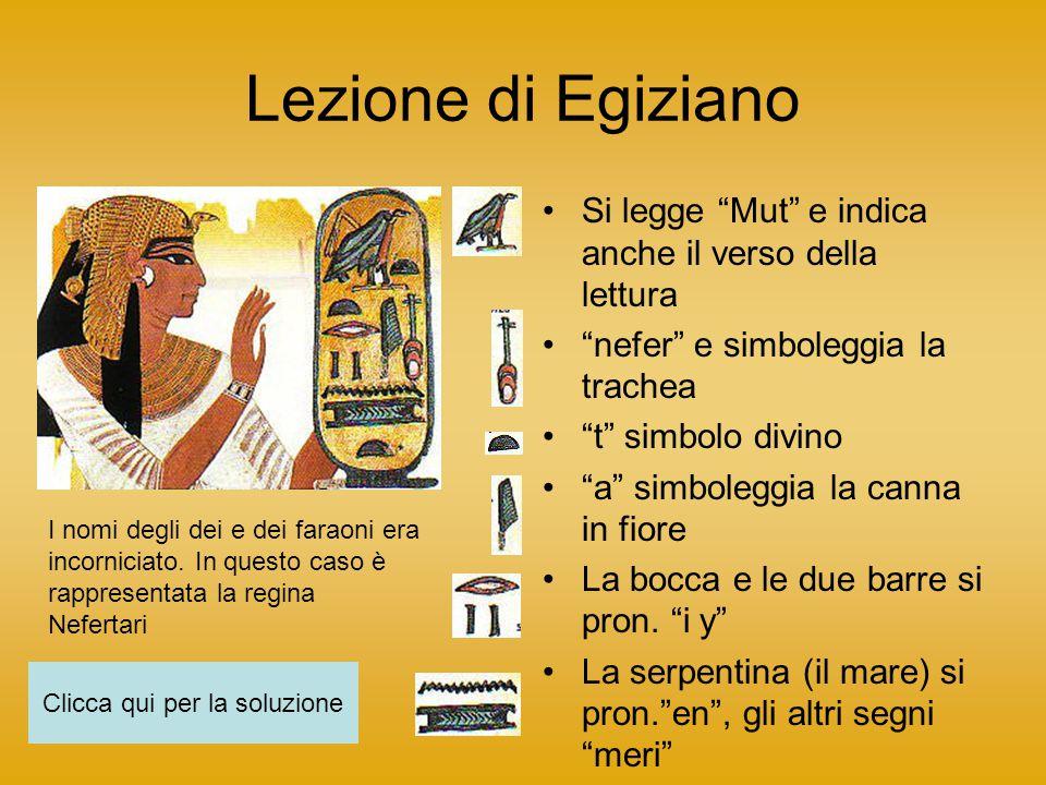 Lezione di Egiziano Si legge Mut e indica anche il verso della lettura nefer e simboleggia la trachea t simbolo divino a simboleggia la canna in fiore La bocca e le due barre si pron.
