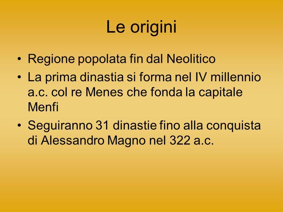 Le origini Regione popolata fin dal Neolitico La prima dinastia si forma nel IV millennio a.c.