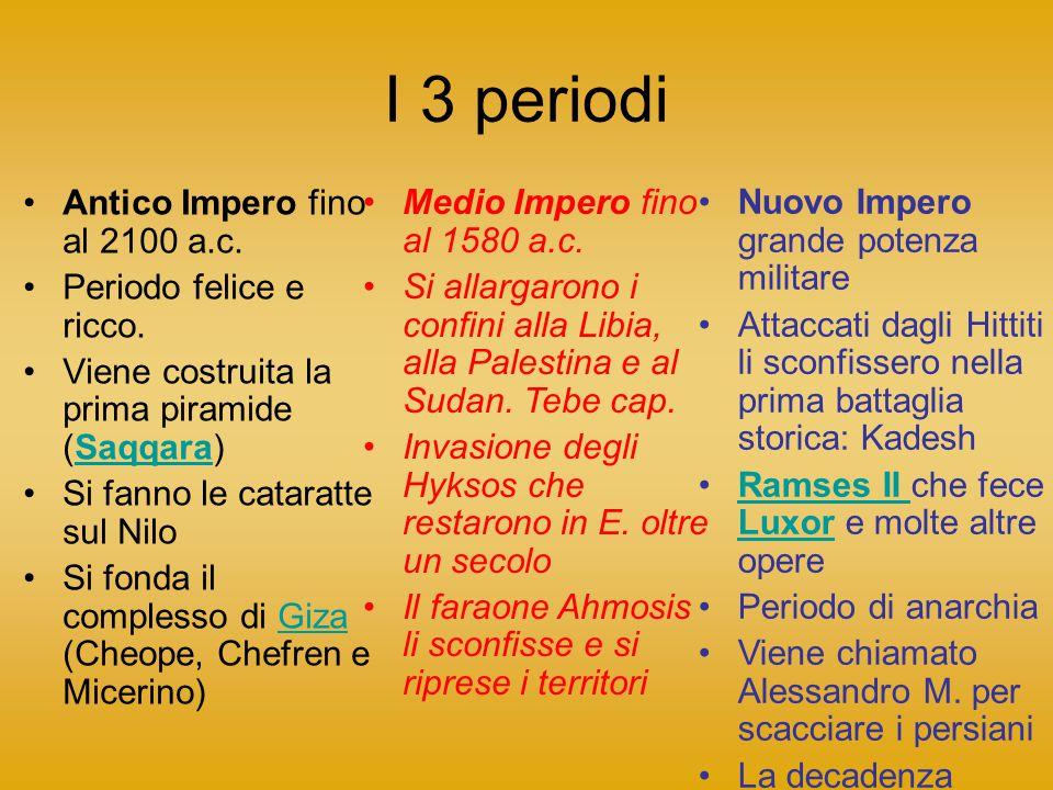 I 3 periodi Antico Impero fino al 2100 a.c.Periodo felice e ricco.