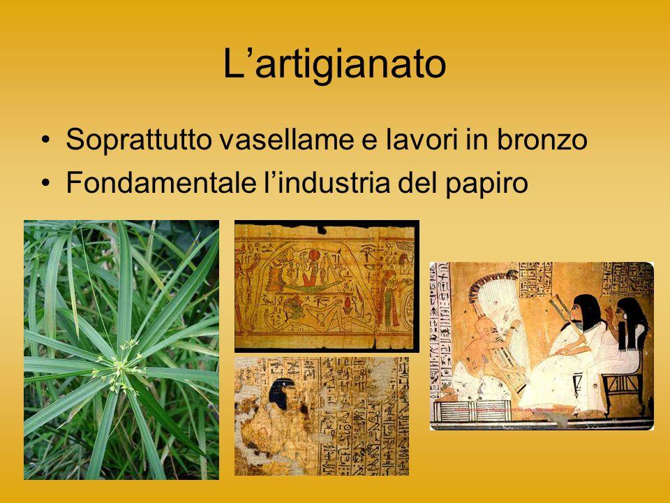 L'artigianato Soprattutto vasellame e lavori in bronzo Fondamentale l'industria del papiro