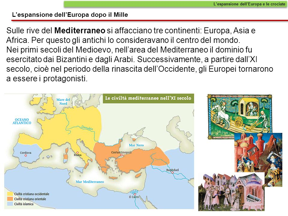 Sulle rive del Mediterraneo si affacciano tre continenti: Europa, Asia e Africa. Per questo gli antichi lo consideravano il centro del mondo. Nei prim