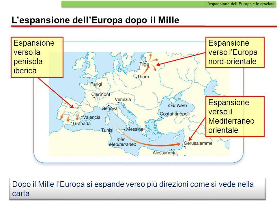 Dopo il Mille l'Europa si espande verso più direzioni come si vede nella carta. L'espansione dell'Europa dopo il Mille L'espansione dell'Europa e le c