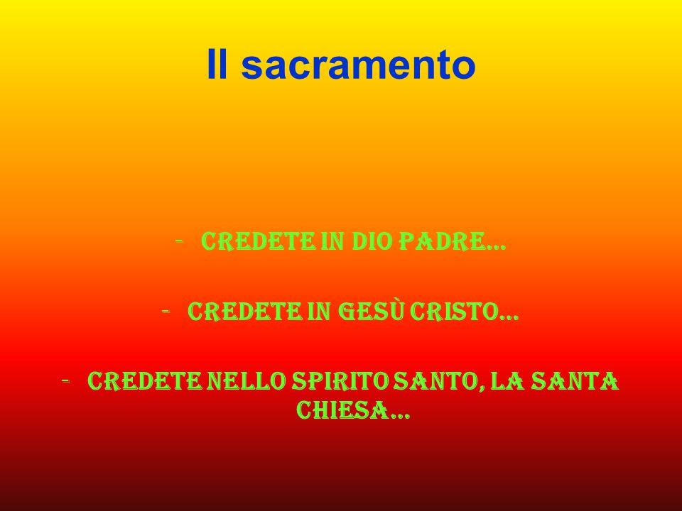 Il sacramento -Credete in Dio padre… -Credete in gesù cristo… -Credete nello spirito santo, la santa chiesa…