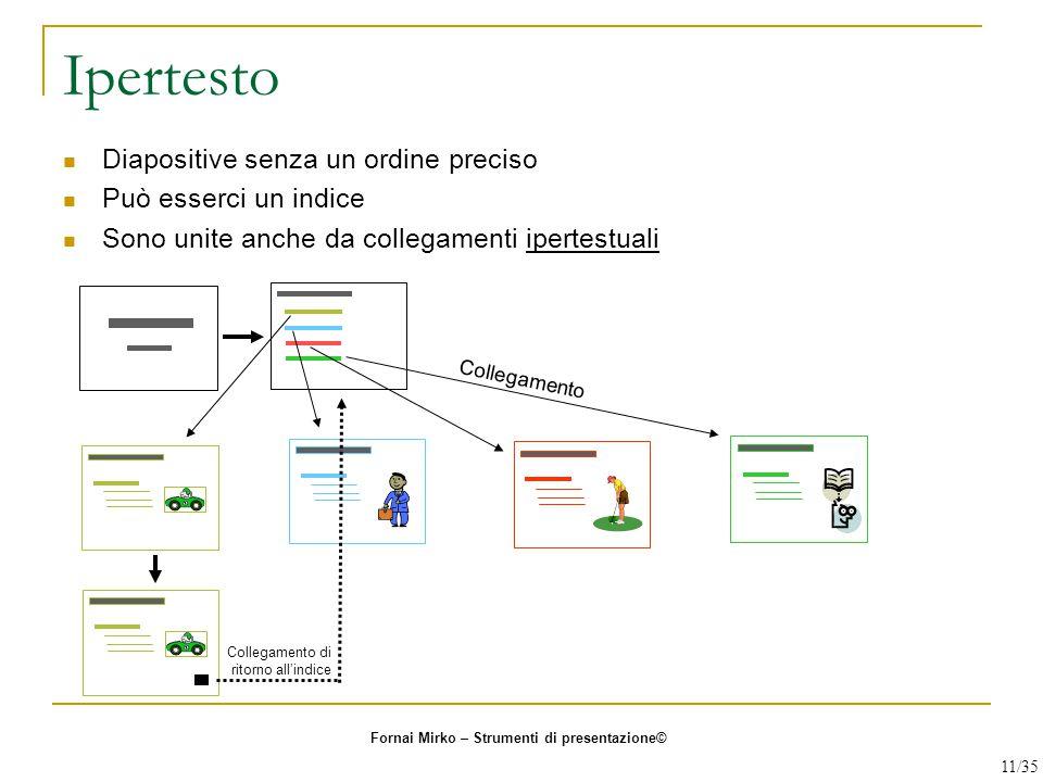 Ipertesto Diapositive senza un ordine preciso Può esserci un indice Sono unite anche da collegamenti ipertestuali Collegamento Collegamento di ritorno
