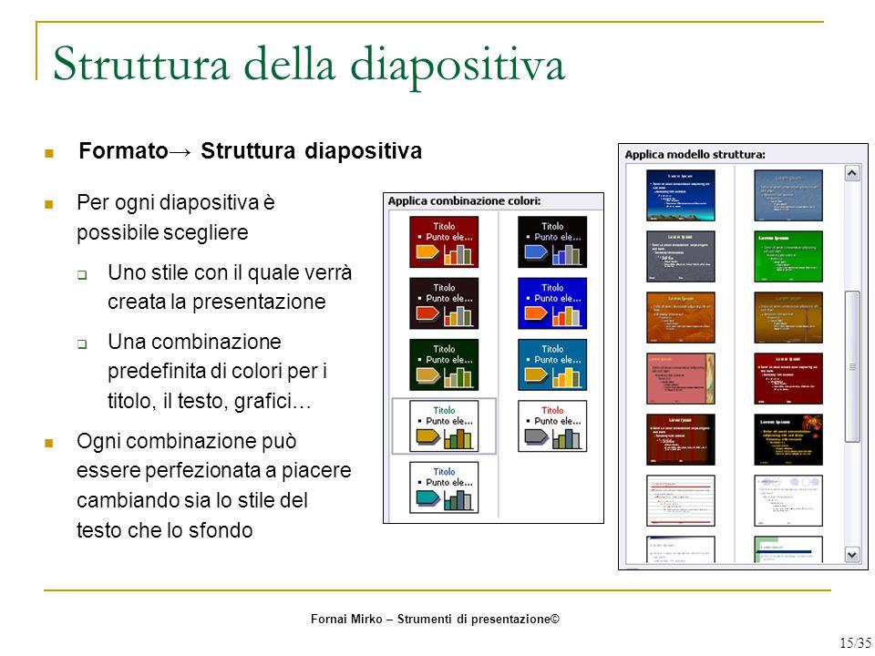 Struttura della diapositiva Per ogni diapositiva è possibile scegliere  Uno stile con il quale verrà creata la presentazione  Una combinazione prede