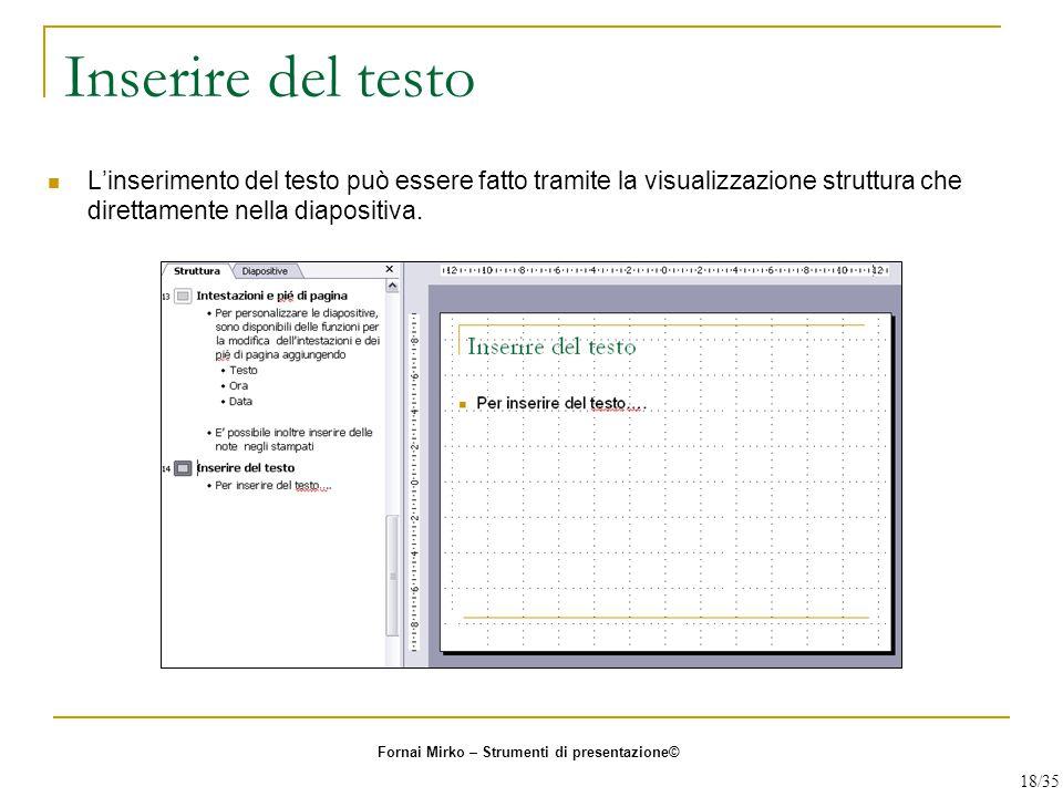 Inserire del testo L'inserimento del testo può essere fatto tramite la visualizzazione struttura che direttamente nella diapositiva. Fornai Mirko – St