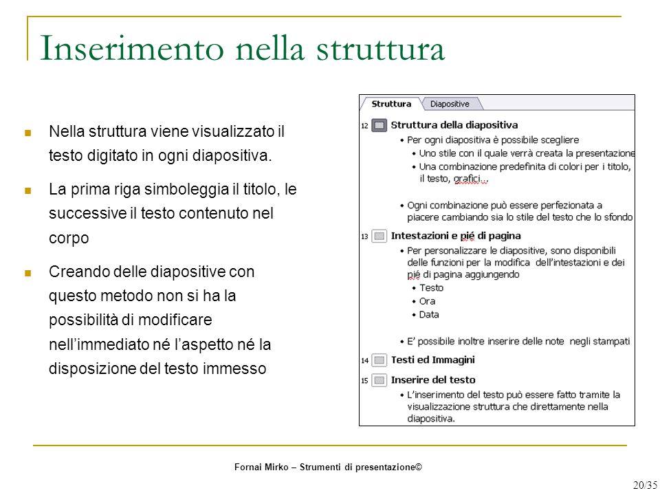 Inserimento nella struttura Nella struttura viene visualizzato il testo digitato in ogni diapositiva. La prima riga simboleggia il titolo, le successi