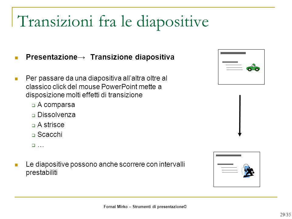 Transizioni fra le diapositive Presentazione→ Transizione diapositiva Per passare da una diapositiva all'altra oltre al classico click del mouse Power