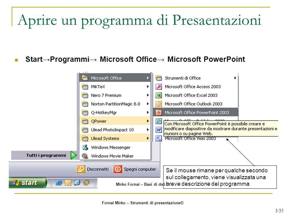 Aprire un programma di Presaentazioni Se il mouse rimane per qualche secondo sul collegamento, viene visualizzata una breve descrizione del programma
