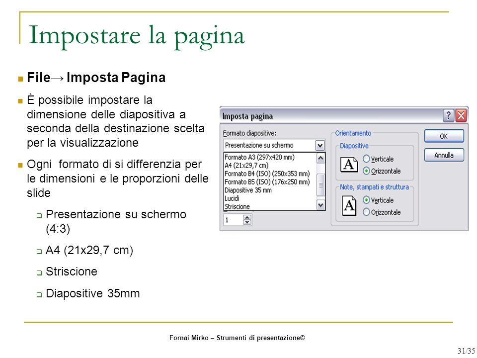 Impostare la pagina File→ Imposta Pagina È possibile impostare la dimensione delle diapositiva a seconda della destinazione scelta per la visualizzazi