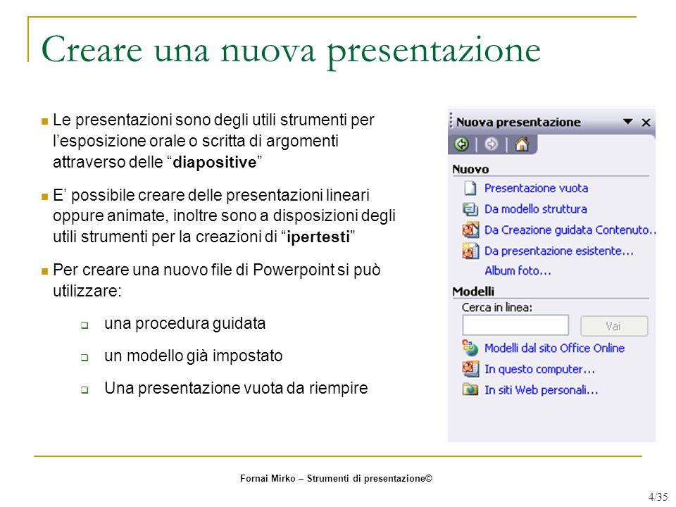 """Creare una nuova presentazione Le presentazioni sono degli utili strumenti per l'esposizione orale o scritta di argomenti attraverso delle """"diapositiv"""