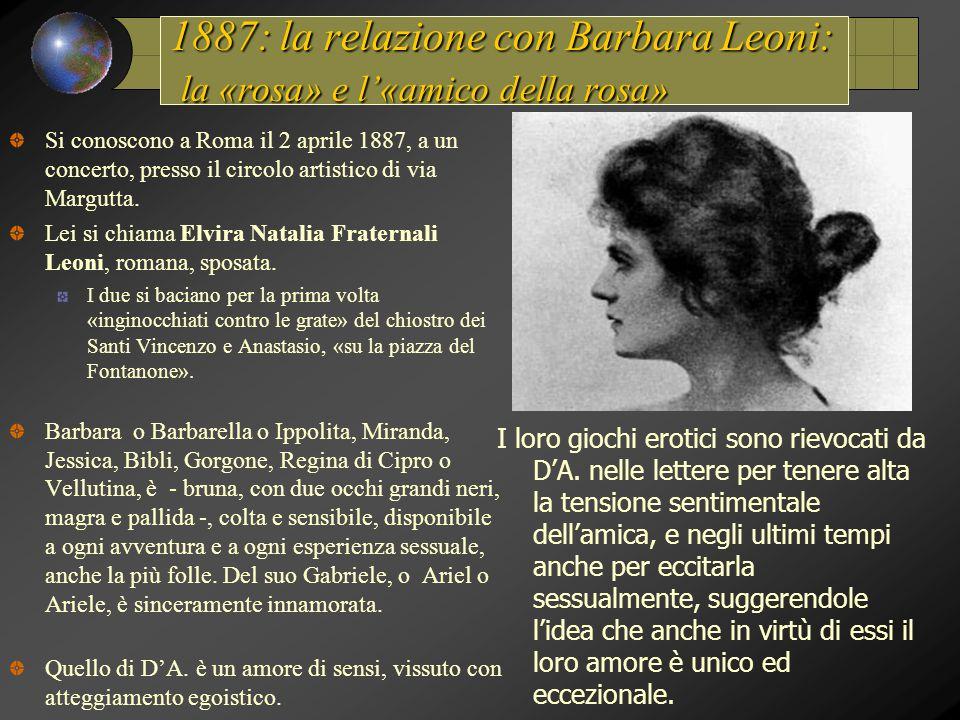 1887: la relazione con Barbara Leoni: la «rosa» e l'«amico della rosa» Si conoscono a Roma il 2 aprile 1887, a un concerto, presso il circolo artistico di via Margutta.