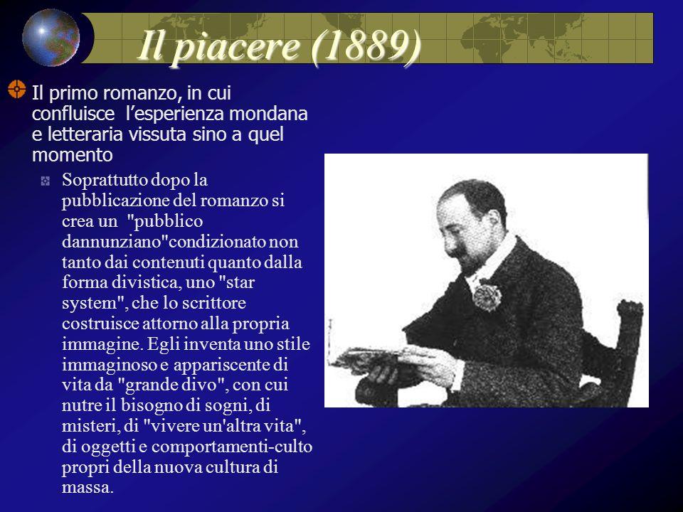 Il piacere (1889) Il primo romanzo, in cui confluisce l'esperienza mondana e letteraria vissuta sino a quel momento Soprattutto dopo la pubblicazione