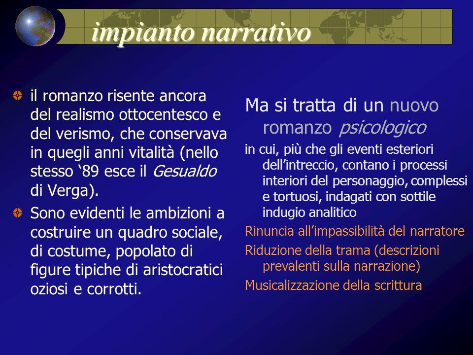 impianto narrativo impianto narrativo il romanzo risente ancora del realismo ottocentesco e del verismo, che conservava in quegli anni vitalità (nello stesso '89 esce il Gesualdo di Verga).
