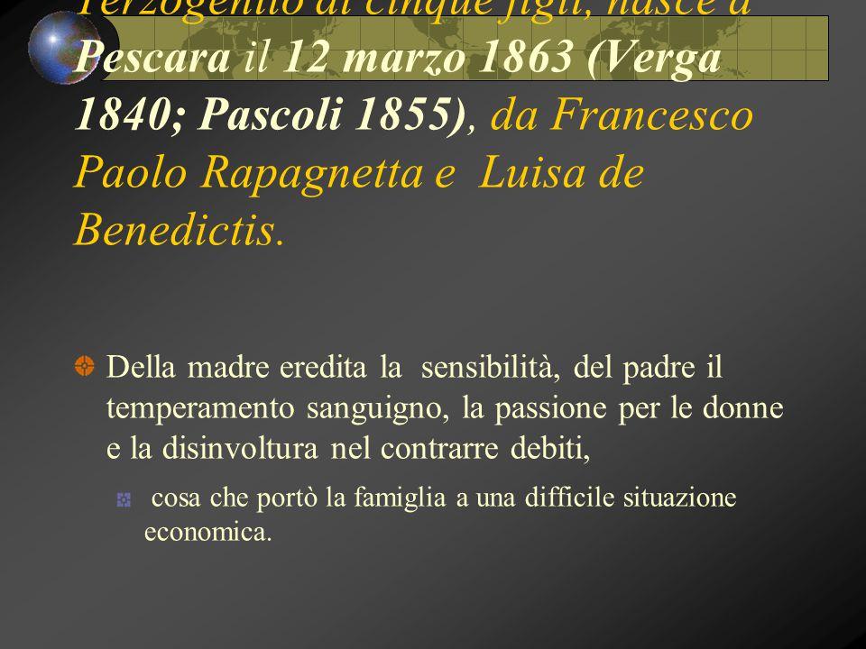 Terzogenito di cinque figli, nasce a Pescara il 12 marzo 1863 (Verga 1840; Pascoli 1855), da Francesco Paolo Rapagnetta e Luisa de Benedictis. Della m