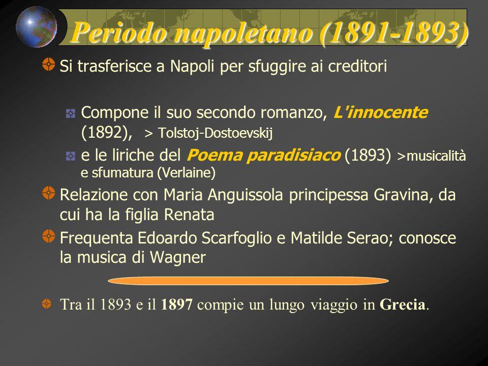 Periodo napoletano (1891-1893) Si trasferisce a Napoli per sfuggire ai creditori Compone il suo secondo romanzo, L'innocente (1892), > Tolstoj-Dostoev