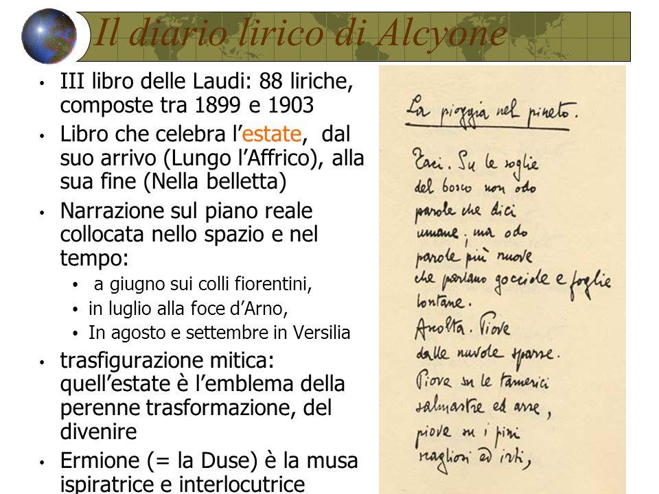 Il diario lirico di Alcyone III libro delle Laudi: 88 liriche, composte tra 1899 e 1903 Libro che celebra l'estate, dal suo arrivo (Lungo l'Affrico), alla sua fine (Nella belletta) Narrazione sul piano reale collocata nello spazio e nel tempo: a giugno sui colli fiorentini, in luglio alla foce d'Arno, In agosto e settembre in Versilia trasfigurazione mitica: quell'estate è l'emblema della perenne trasformazione, del divenire Ermione (= la Duse) è la musa ispiratrice e interlocutrice