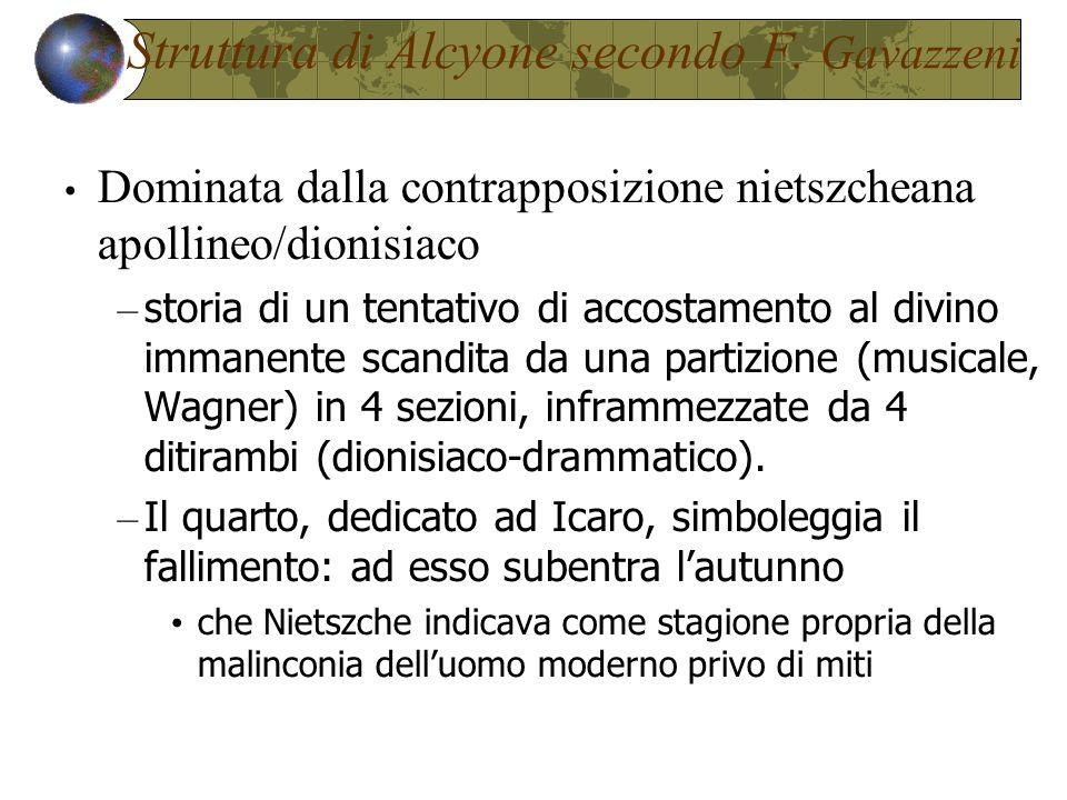 Struttura di Alcyone secondo F. Gavazzeni Dominata dalla contrapposizione nietszcheana apollineo/dionisiaco – storia di un tentativo di accostamento a