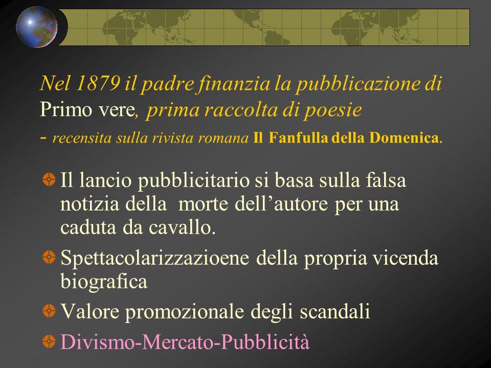 Nel 1879 il padre finanzia la pubblicazione di Primo vere, prima raccolta di poesie - recensita sulla rivista romana Il Fanfulla della Domenica. Il la