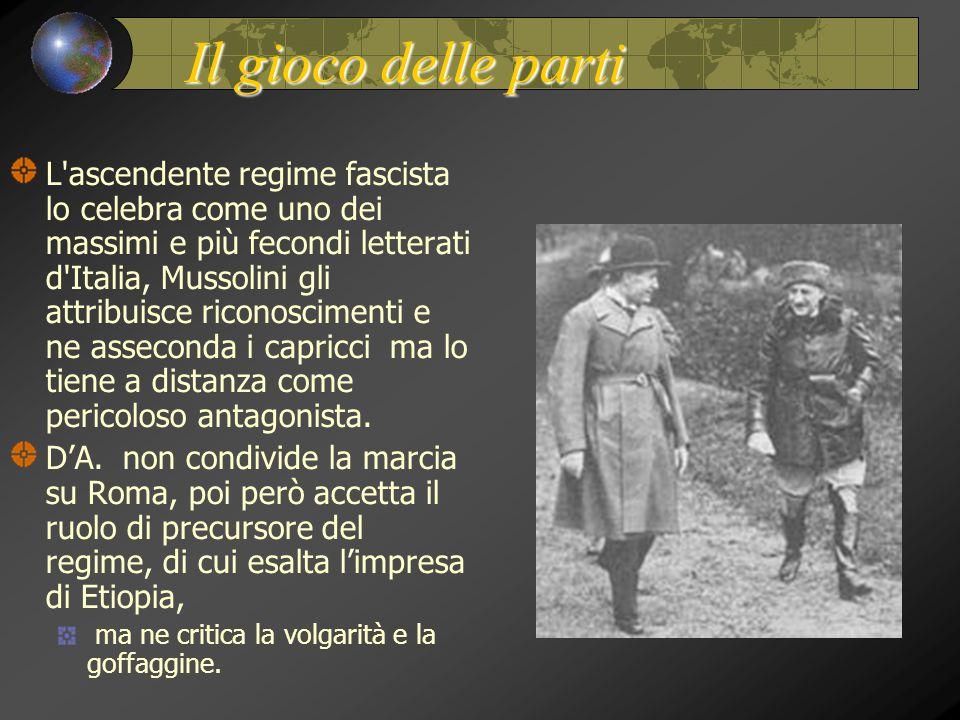 Il gioco delle parti L'ascendente regime fascista lo celebra come uno dei massimi e più fecondi letterati d'Italia, Mussolini gli attribuisce riconosc