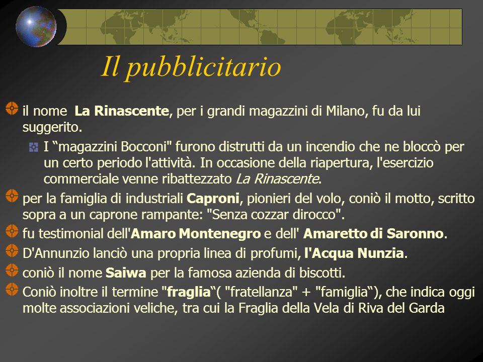 """Il pubblicitario il nome La Rinascente, per i grandi magazzini di Milano, fu da lui suggerito. I """"magazzini Bocconi"""