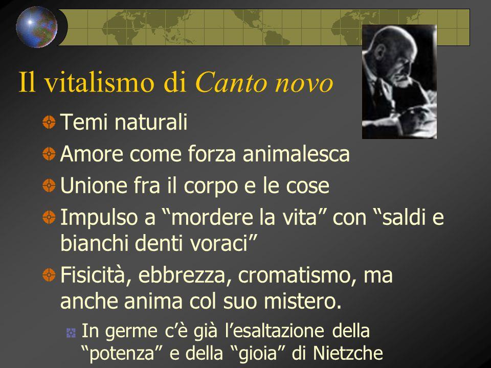 """Il vitalismo di Canto novo Temi naturali Amore come forza animalesca Unione fra il corpo e le cose Impulso a """"mordere la vita"""" con """"saldi e bianchi de"""