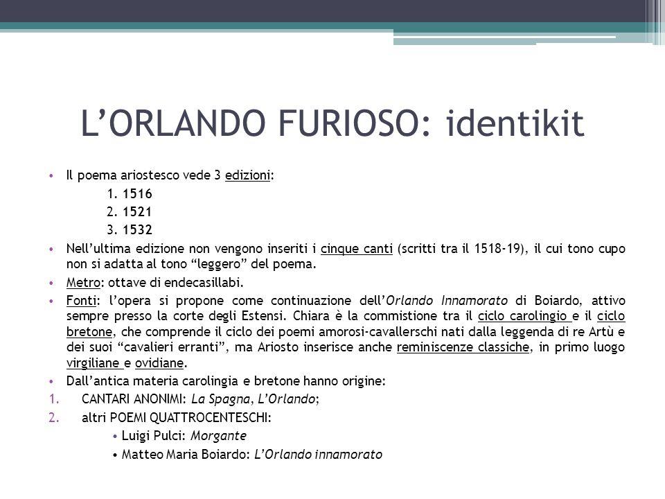 L'ORLANDO FURIOSO: identikit Il poema ariostesco vede 3 edizioni: 1. 1516 2. 1521 3. 1532 Nell'ultima edizione non vengono inseriti i cinque canti (sc