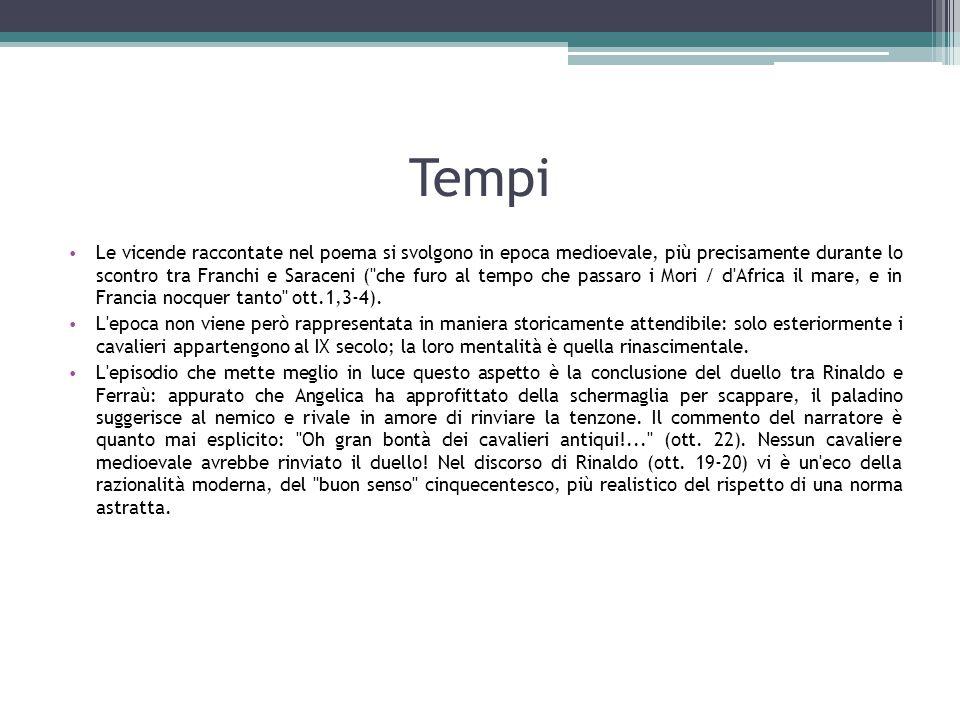 Tempi Le vicende raccontate nel poema si svolgono in epoca medioevale, più precisamente durante lo scontro tra Franchi e Saraceni (