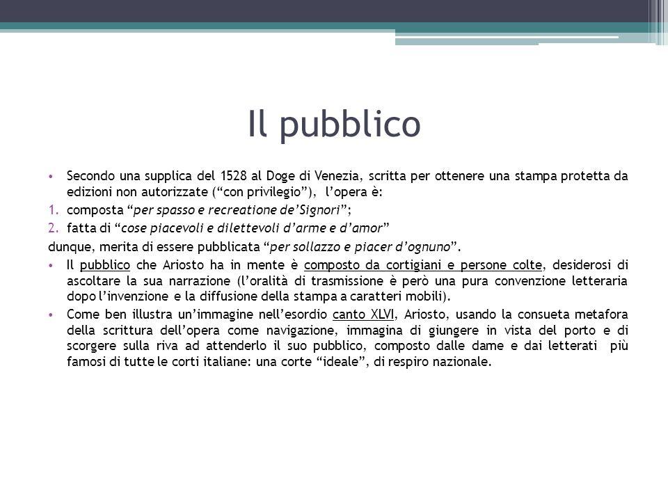 """Il pubblico Secondo una supplica del 1528 al Doge di Venezia, scritta per ottenere una stampa protetta da edizioni non autorizzate (""""con privilegio""""),"""