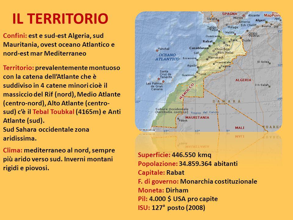IL TERRITORIO Confini: est e sud-est Algeria, sud Mauritania, ovest oceano Atlantico e nord-est mar Mediterraneo Territorio: prevalentemente montuoso