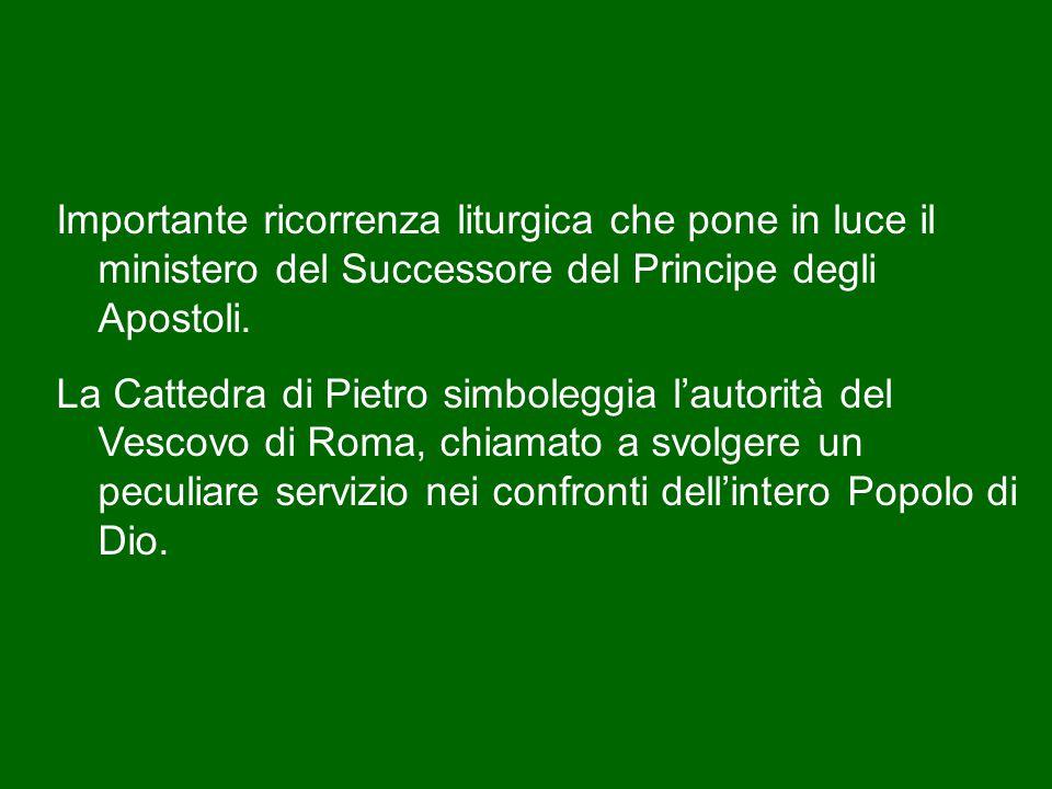 Nell'odierna domenica cade anche la festa della Cattedra di san Pietro