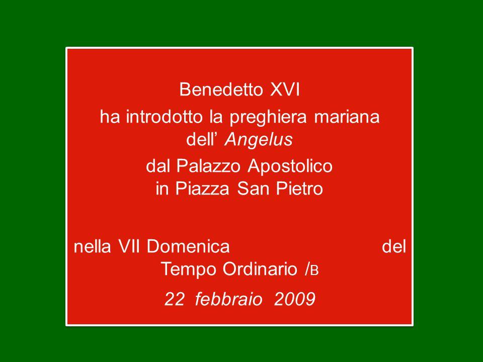 Benedetto XVI ha introdotto la preghiera mariana dell' Angelus dal Palazzo Apostolico in Piazza San Pietro nella VII Domenica del Tempo Ordinario / B 22 febbraio 2009 Benedetto XVI ha introdotto la preghiera mariana dell' Angelus dal Palazzo Apostolico in Piazza San Pietro nella VII Domenica del Tempo Ordinario / B 22 febbraio 2009