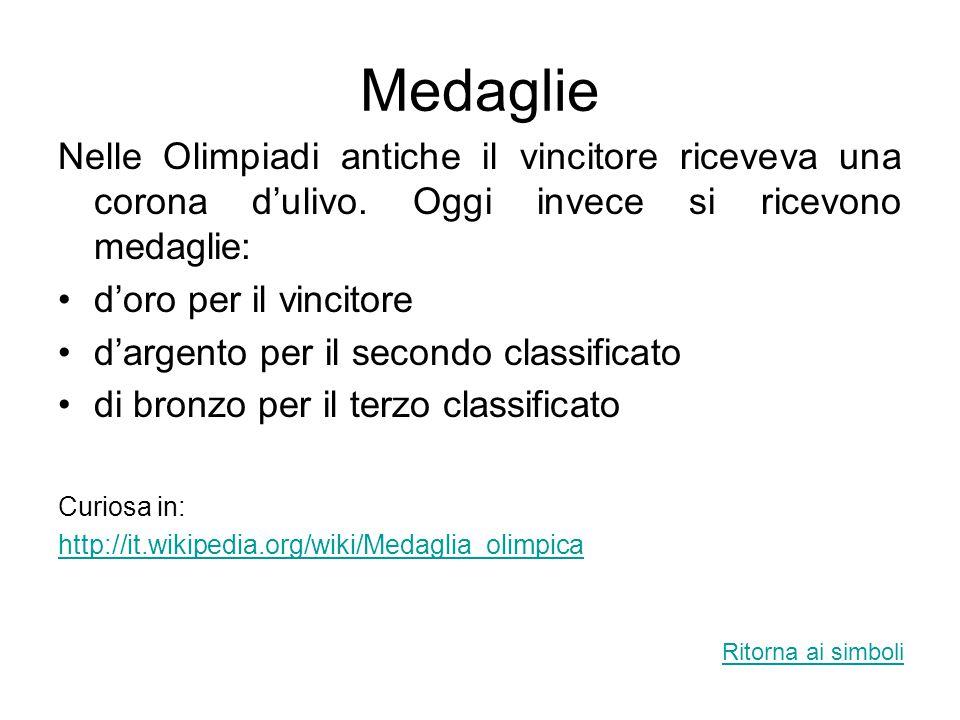 Medaglie Nelle Olimpiadi antiche il vincitore riceveva una corona d'ulivo. Oggi invece si ricevono medaglie: d'oro per il vincitore d'argento per il s