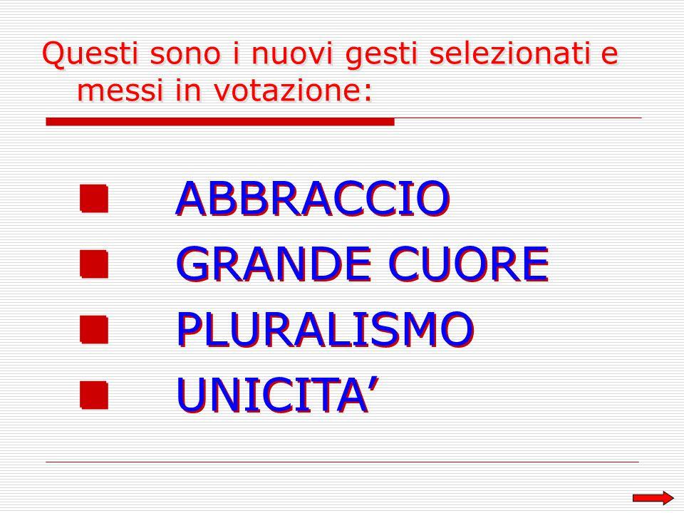 ABBRACCIO GRANDE CUORE PLURALISMO UNICITA' ABBRACCIO GRANDE CUORE PLURALISMO UNICITA' Questi sono i nuovi gesti selezionati e messi in votazione: