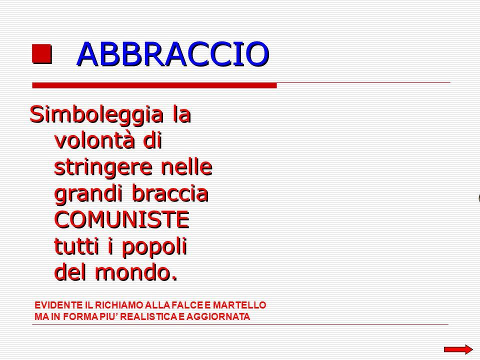 ABBRACCIO Simboleggia la volontà di stringere nelle grandi braccia COMUNISTE tutti i popoli del mondo.