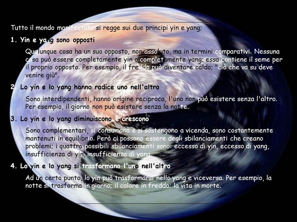 Tutto il mondo manifestato si regge sui due principi yin e yang; 1. Yin e yang sono opposti Qualunque cosa ha un suo opposto, non assoluto, ma in term