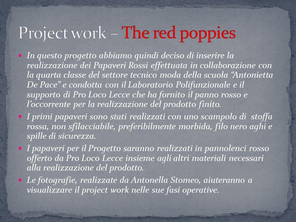 In questo progetto abbiamo quindi deciso di inserire la realizzazione dei Papaveri Rossi effettuata in collaborazione con la quarta classe del settore
