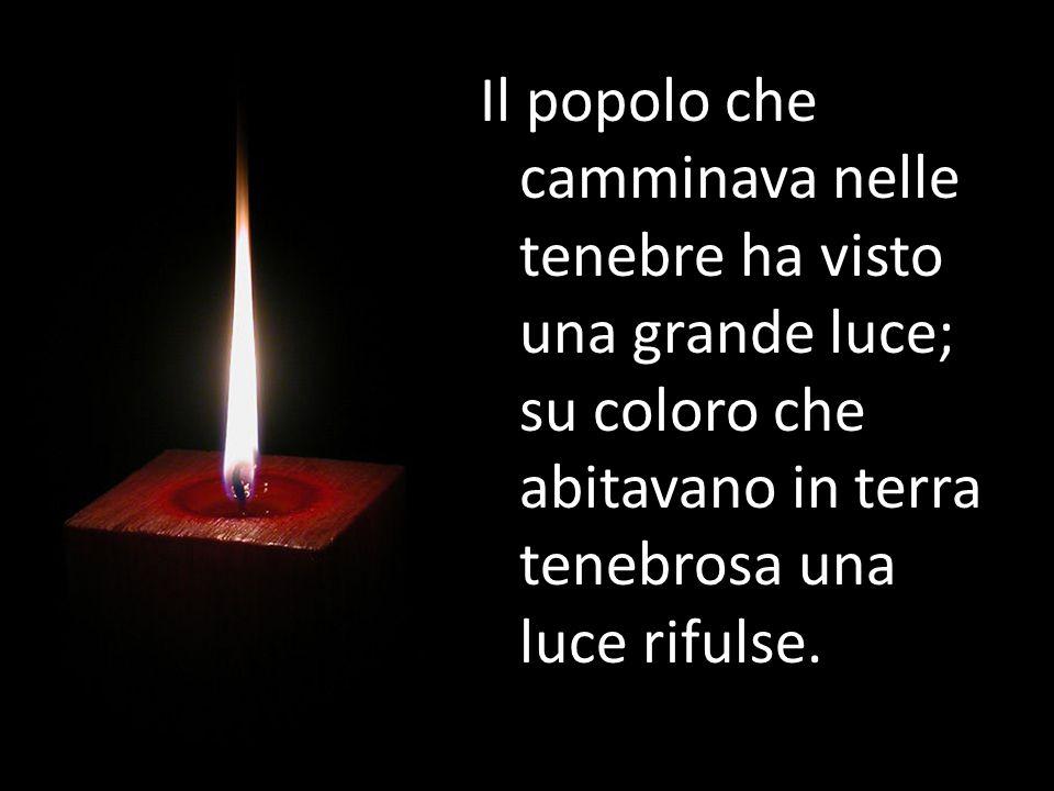 Io sono la luce del mondo; chi segue me non cammina nelle tenebre, ma avrà la luce della vita.