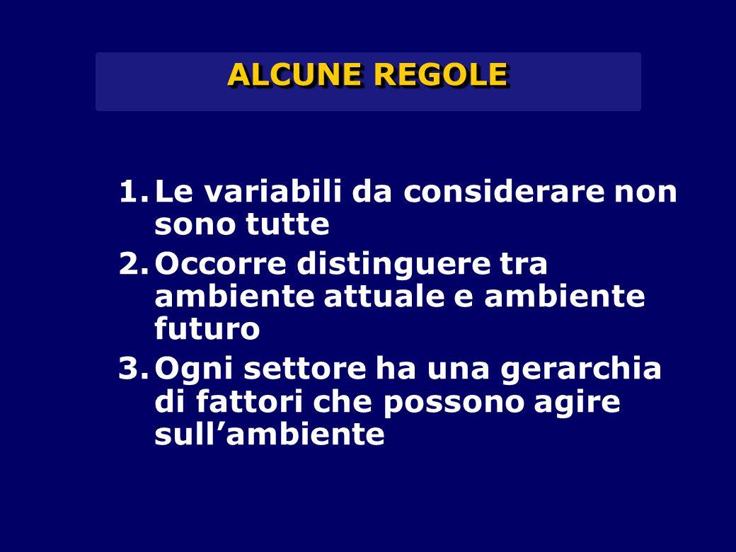 ALCUNE REGOLE 1.Le variabili da considerare non sono tutte 2.Occorre distinguere tra ambiente attuale e ambiente futuro 3.Ogni settore ha una gerarchia di fattori che possono agire sull'ambiente