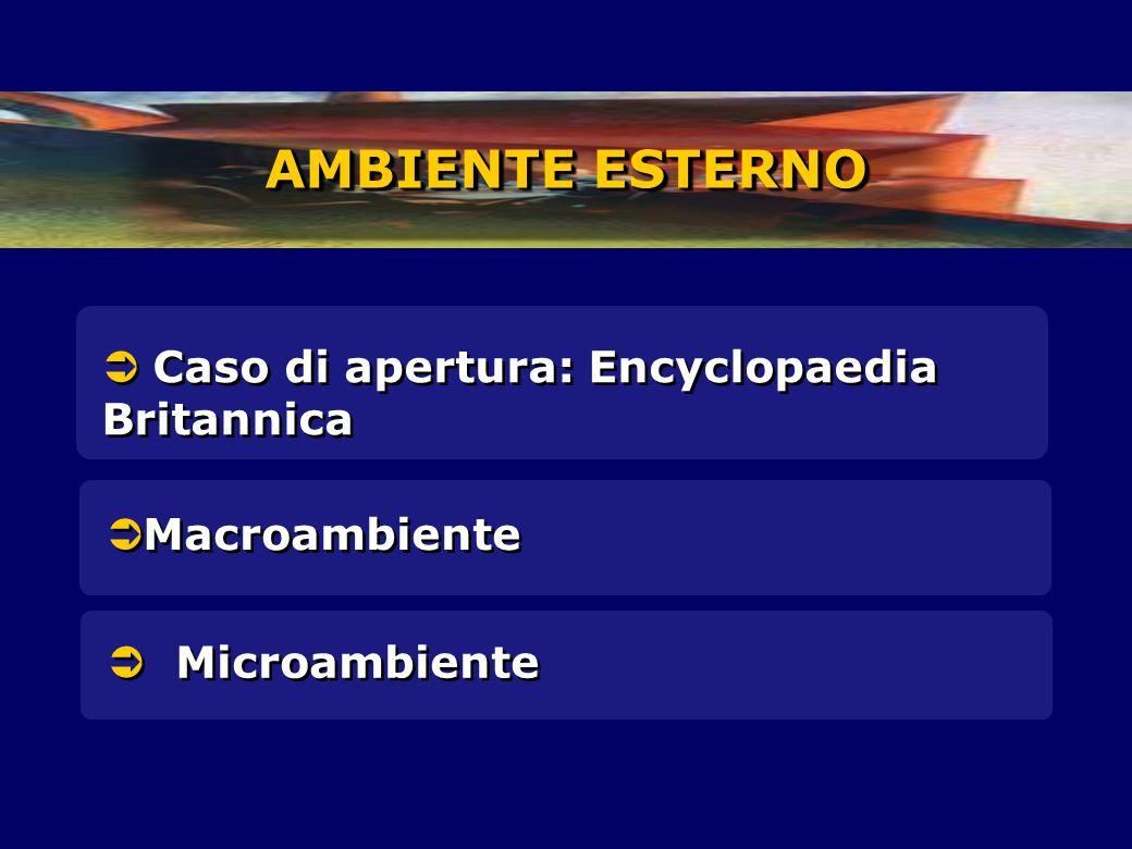  Caso di apertura: Encyclopaedia Britannica AMBIENTE ESTERNO  Macroambiente  Microambiente