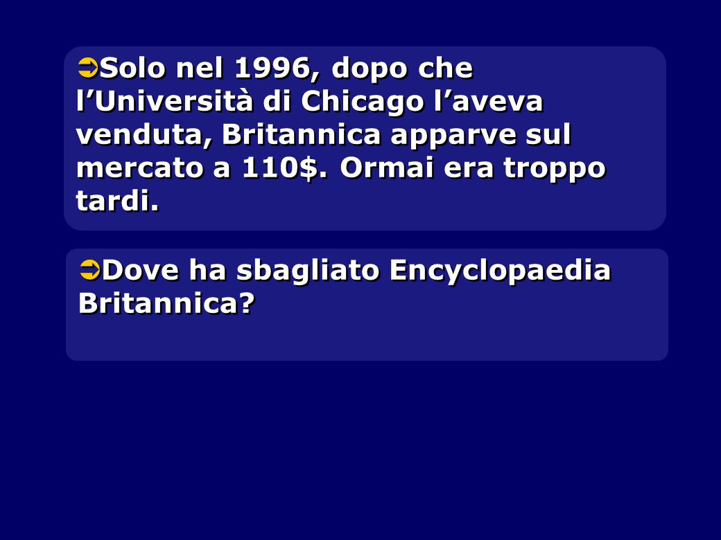  Solo nel 1996, dopo che l'Università di Chicago l'aveva venduta, Britannica apparve sul mercato a 110$.