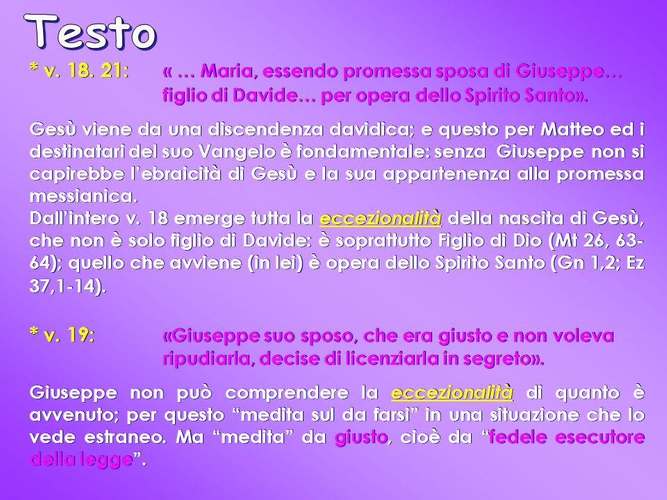 * v. 18. 21: « … Maria, essendo promessa sposa di Giuseppe… figlio di Davide… per opera dello Spirito Santo». Gesù viene da una discendenza davidica;