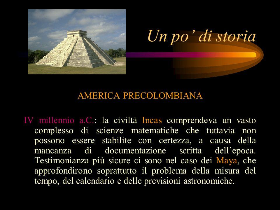Un po' di storia AMERICA PRECOLOMBIANA IV millennio a.C.: la civiltà Incas comprendeva un vasto complesso di scienze matematiche che tuttavia non possono essere stabilite con certezza, a causa della mancanza di documentazione scritta dell'epoca.