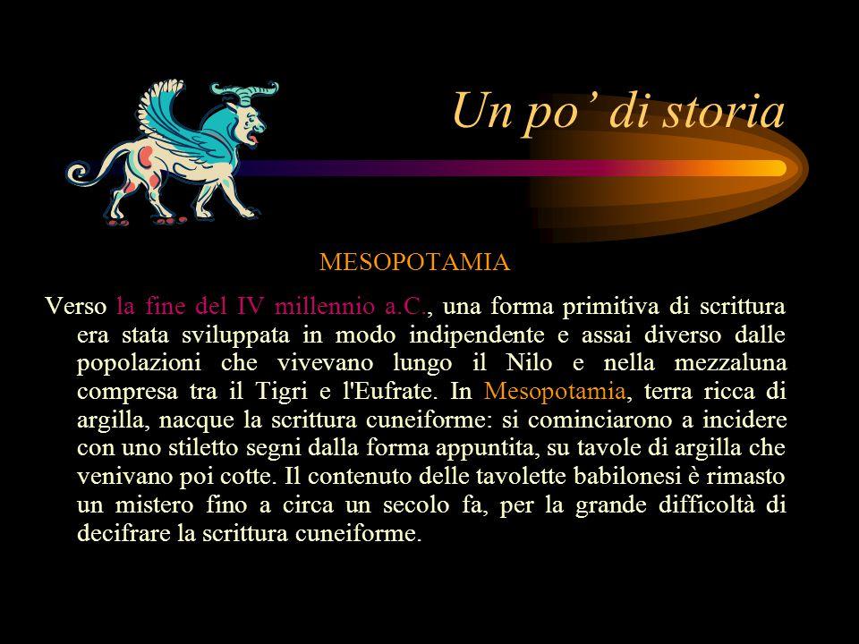 Un po' di storia MESOPOTAMIA Verso la fine del IV millennio a.C., una forma primitiva di scrittura era stata sviluppata in modo indipendente e assai diverso dalle popolazioni che vivevano lungo il Nilo e nella mezzaluna compresa tra il Tigri e l Eufrate.