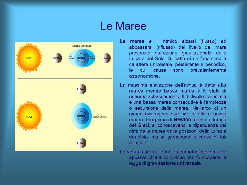 Le Maree La marea è il ritmico alzarsi (flusso) ed abbassarsi (riflusso) del livello del mare provocato dall'azione gravitazionale della Luna e del So