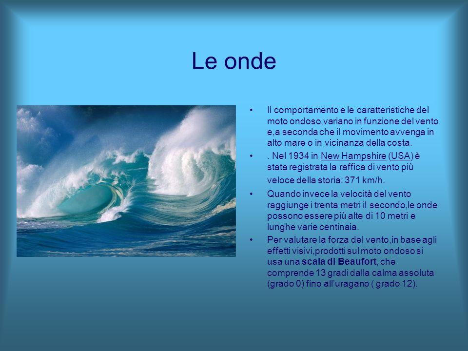 Le onde Il comportamento e le caratteristiche del moto ondoso,variano in funzione del vento e,a seconda che il movimento avvenga in alto mare o in vic