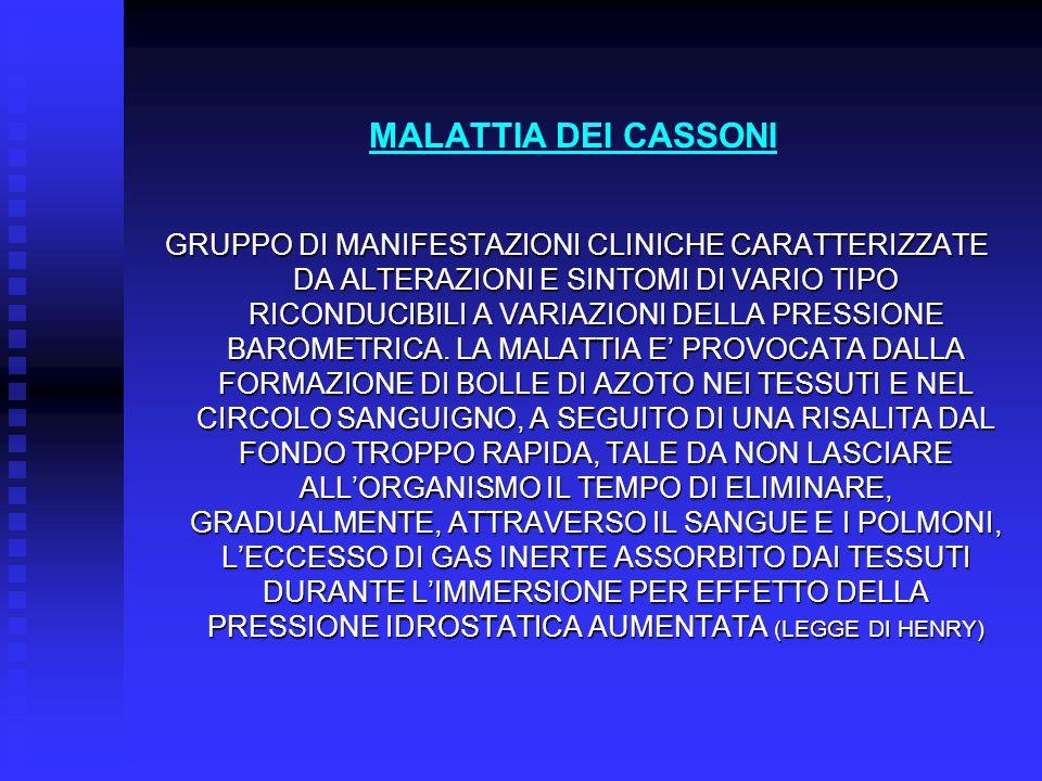 MALATTIA DEI CASSONI GRUPPO DI MANIFESTAZIONI CLINICHE CARATTERIZZATE DA ALTERAZIONI E SINTOMI DI VARIO TIPO RICONDUCIBILI A VARIAZIONI DELLA PRESSION